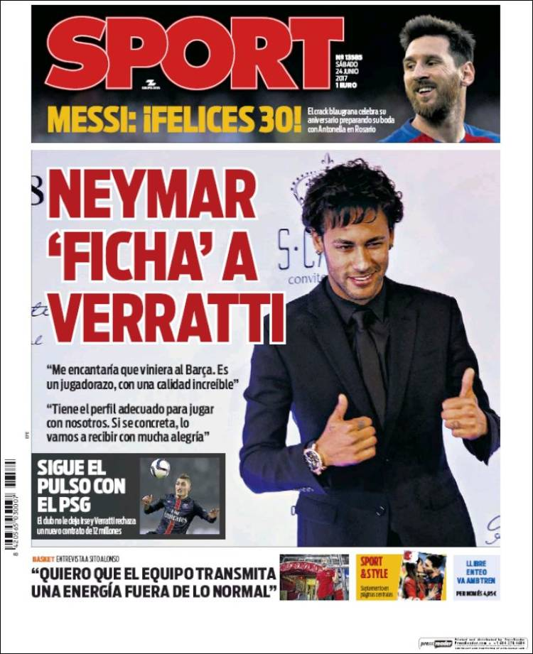 Sport Portada Neymar 24.06.17