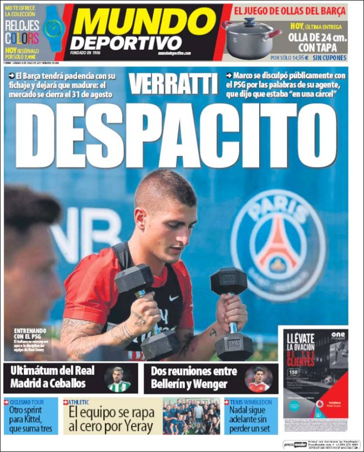 Mundo Deportivo Portada Verratti 08.07.17