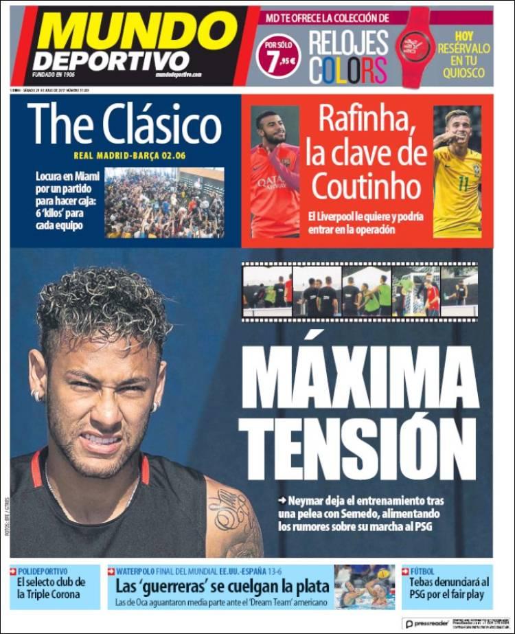 Mundo Deportivo Portada Neymar 29.07.17