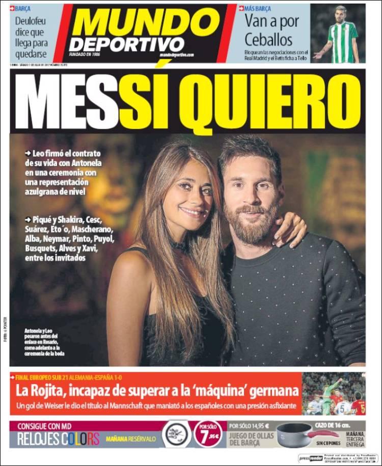 Mundo Deportivo Portada Boda Messi 01.07.17
