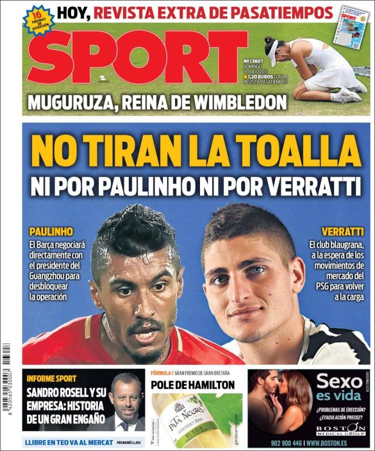 Sport Portada Paulinho-Verratti 16.07.17