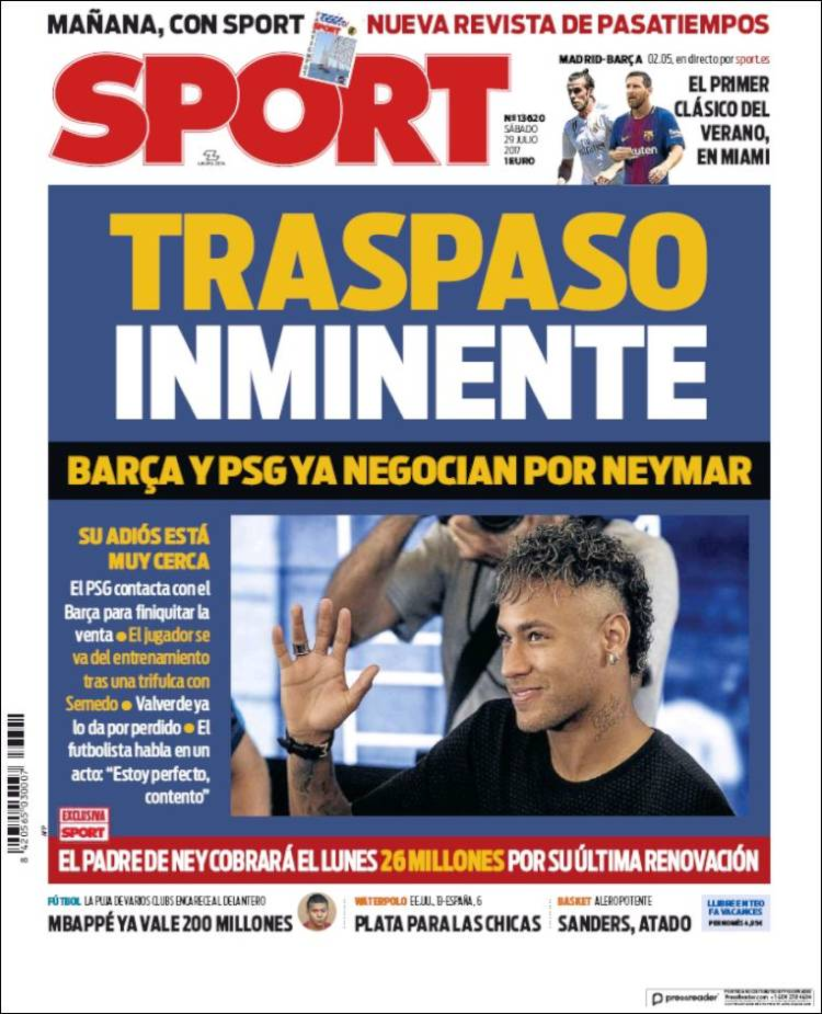 Sport Portada Neymar 29.07.17