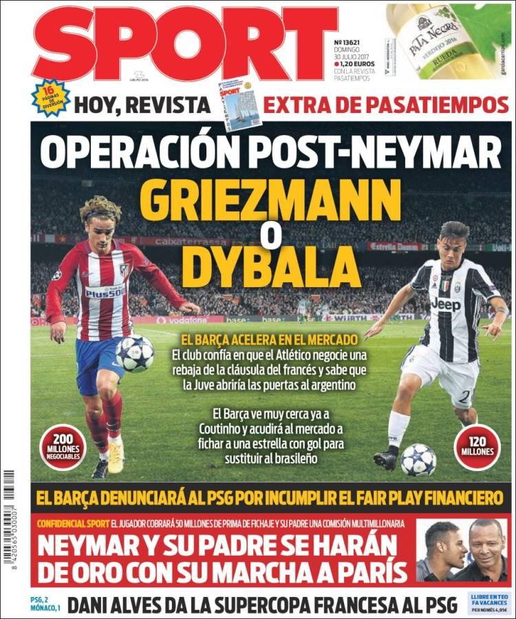 Sport Portada PostNeymar 30.07.17