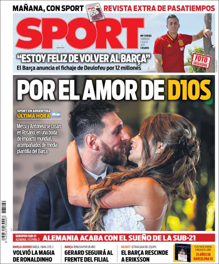 Portada Sport Boda Messi 01.07.17
