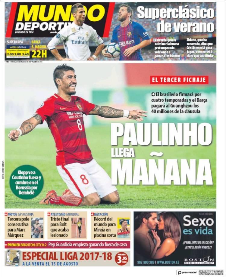 Mundo Deportivo Portada Paulinho 13.08.17