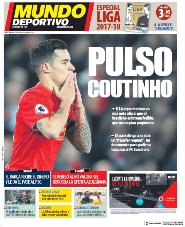 Mundo Deportivo Portada Coutinho 12.08.17