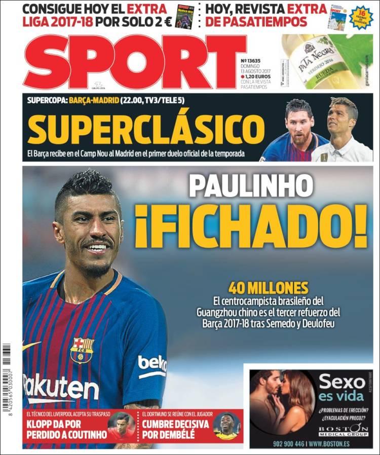 Sport Portada Paulinho 13.08.17