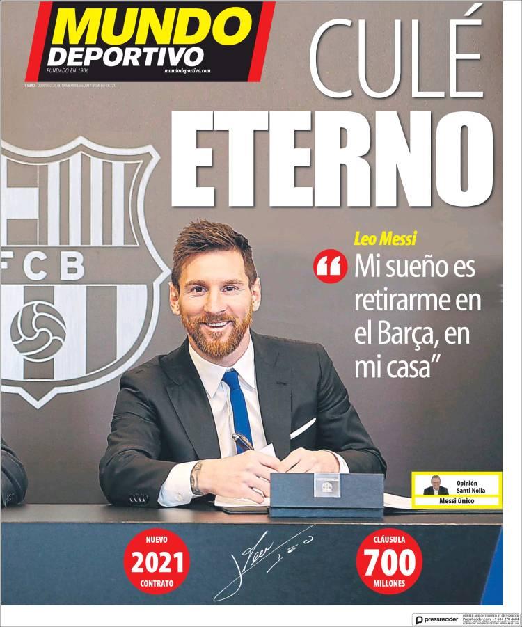 Portada Mundo Deportivo renovación Messi 26.11.17