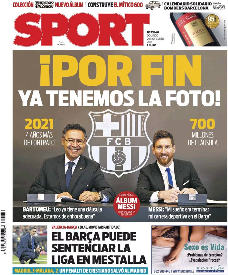 Portada Sport renovación Messi 26.11.17