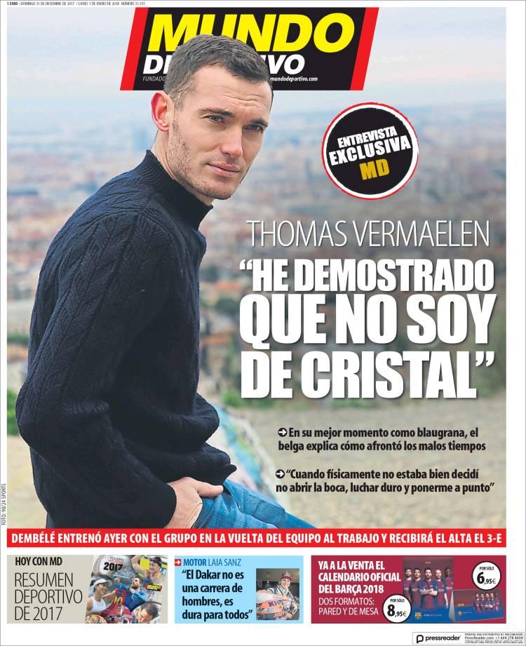 Mundo Deportivo Portada Vermaelen 31.12.17