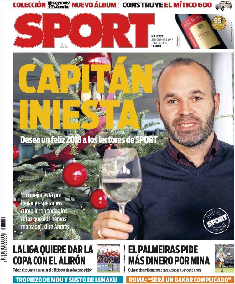 Sport Portada Iniesta 31.12.17