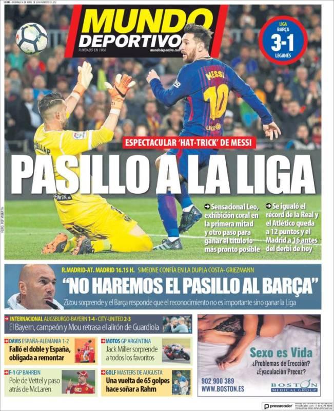 Mundo Deportivo Portada Pasillo 08.04.18