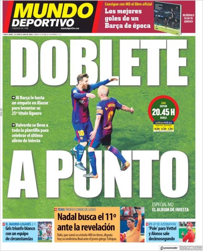 Mundo Deportivo Portada Doblete a punto 29.04.18