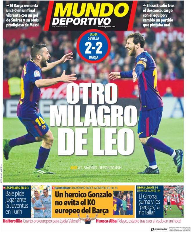 Mundo Deportivo Portada Messi 01.04.18