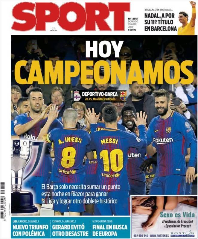 Sport Portada Campeonamos 29.04.18
