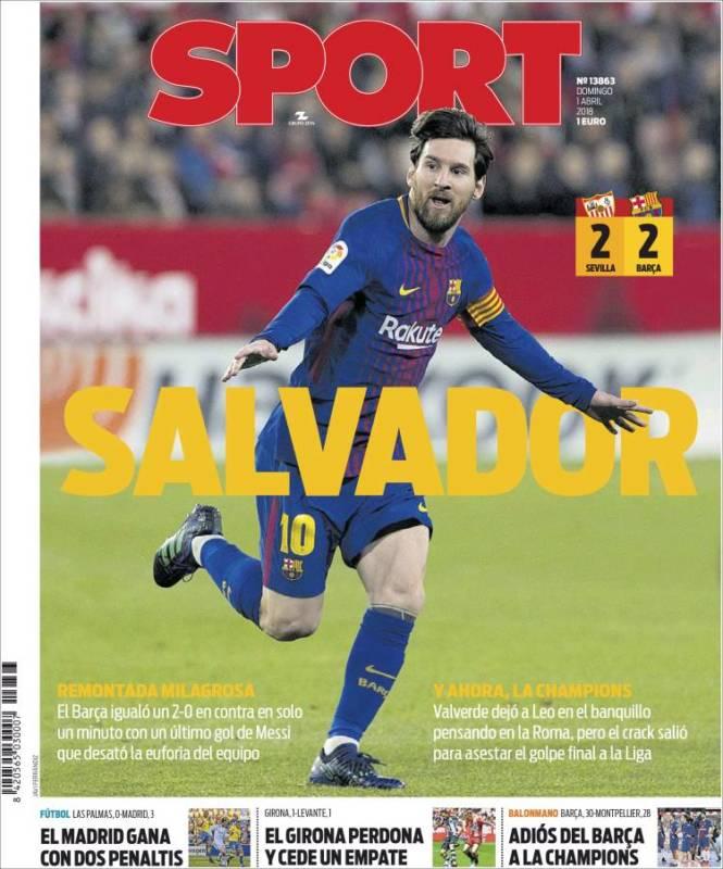 Sport Portada Messi 01.04.18