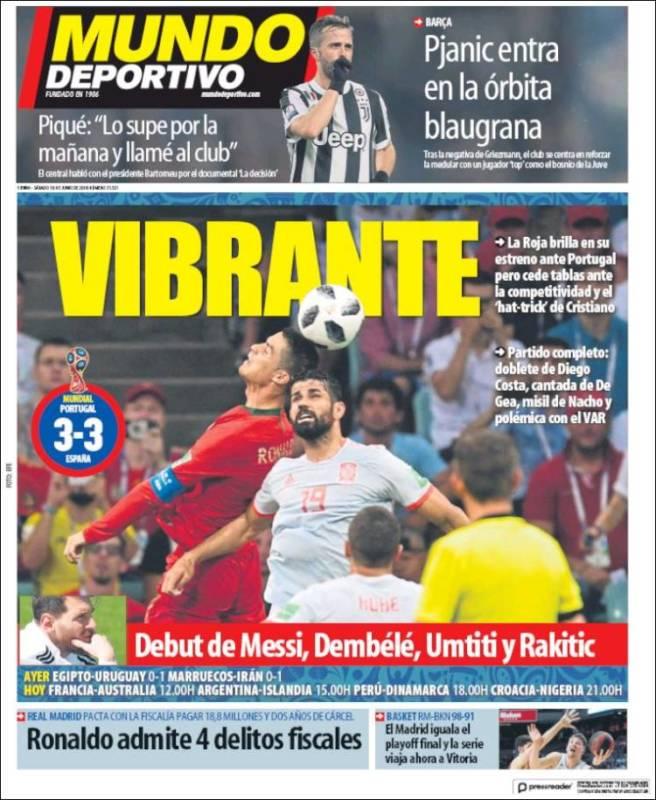 Mundo Deportivo Portada España-Portugal 16.06.18