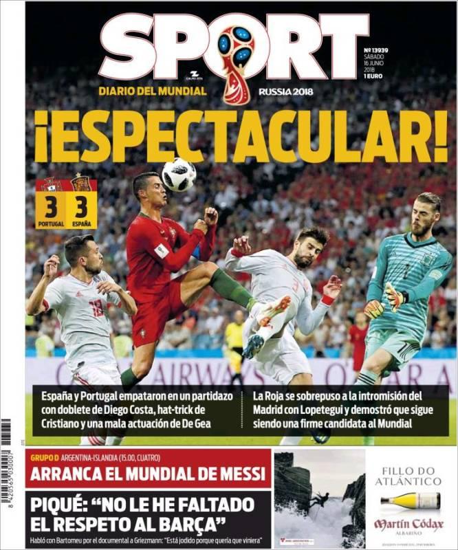 Sport Portada España-Portugal 16.06.18