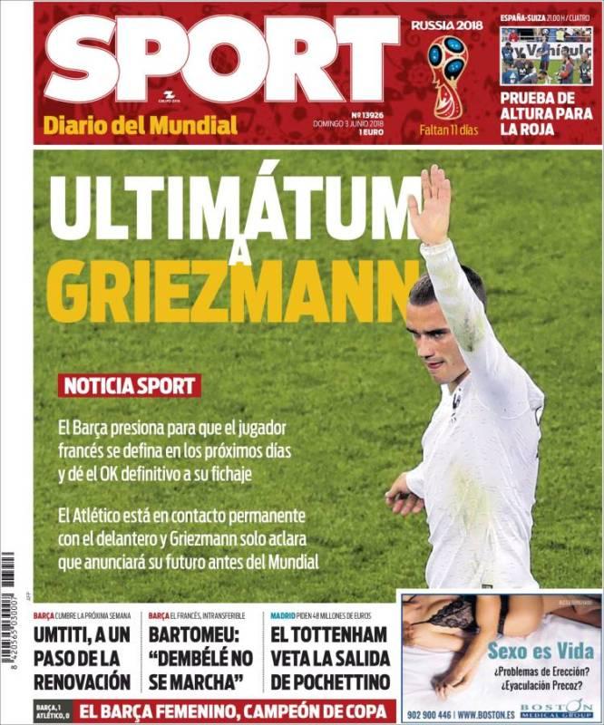 Sport Portada Griezmann 03.06.18