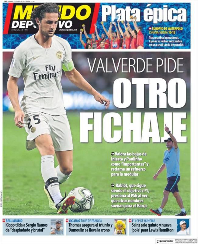 Mundo Deportivo Portada Otro fichaje 29.07.18