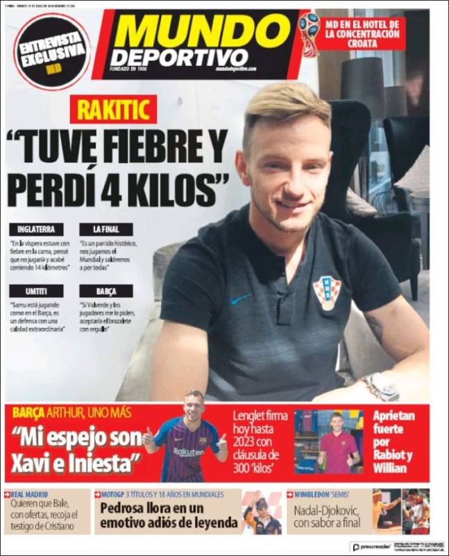 Mundo Deportivo Portada Rakitic 13.07.18