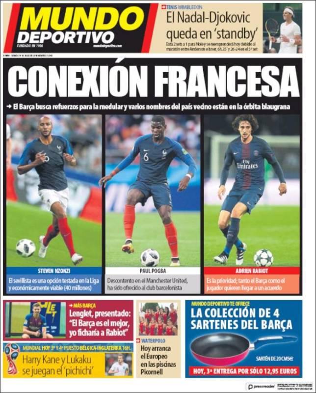 Mundo Deportivo Portada Conexión francesa 14.07.18
