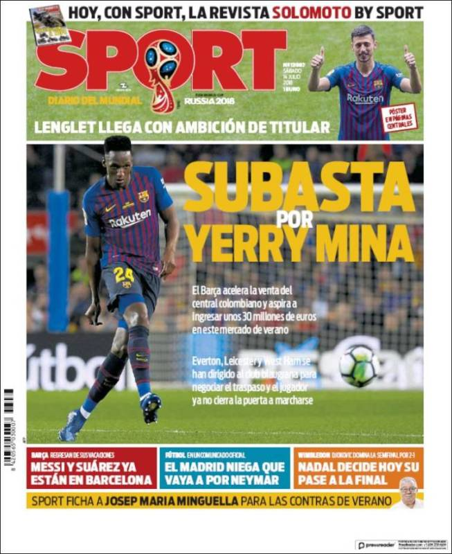 Sport Portada Yerry Mina 14.07.18