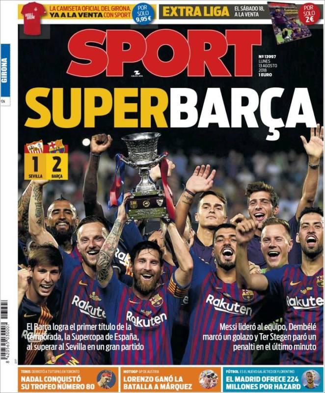 Sport Portada Superbarça 13.08.18