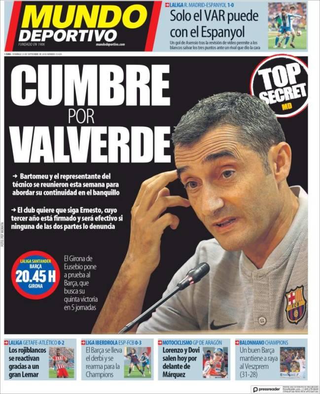 Mundo Deportivo Portada Valverde 23.09.18