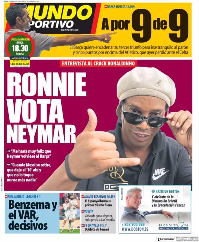 Mundo Deportivo Portada Ronnie 02.09.18