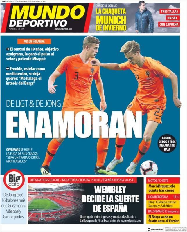 Mundo Deportivo Portada Enamoran 18.11.18