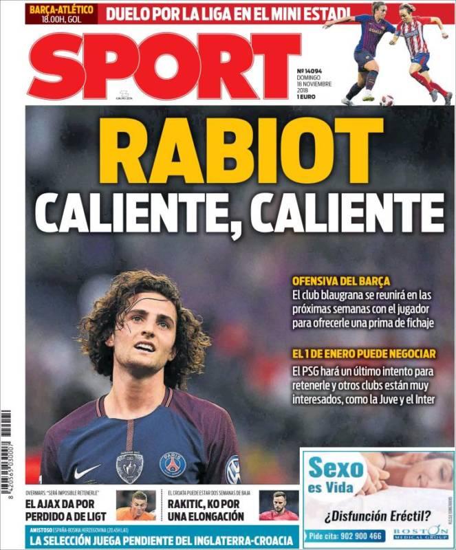 Sport Portada Rabiot 18.11.18