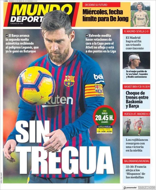 Mundo Deportivo Portada Sin tregua 20.01.19
