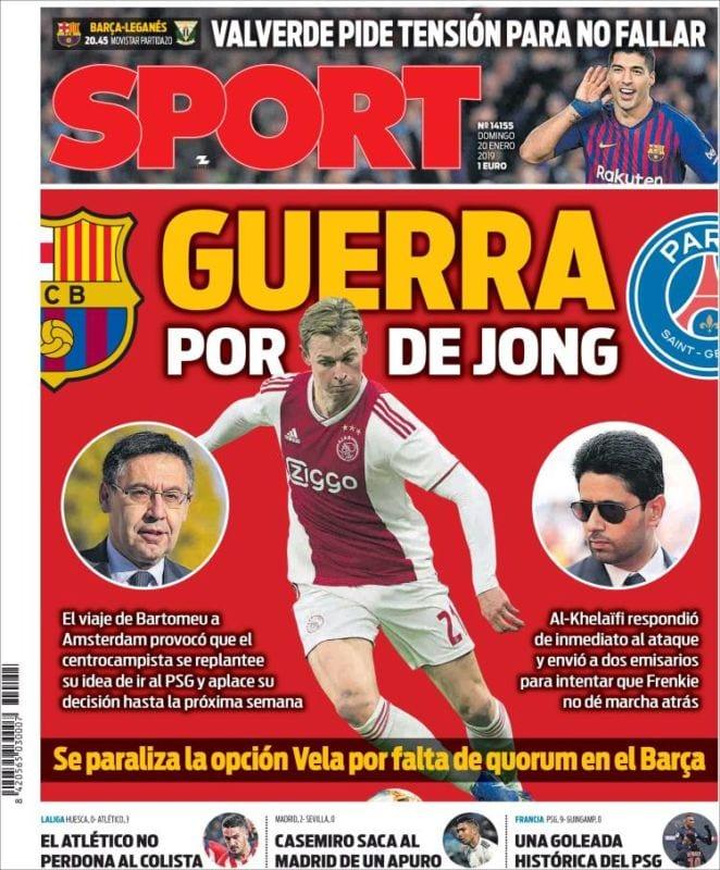 Sport Portada Guerra De Jong 20.01.19