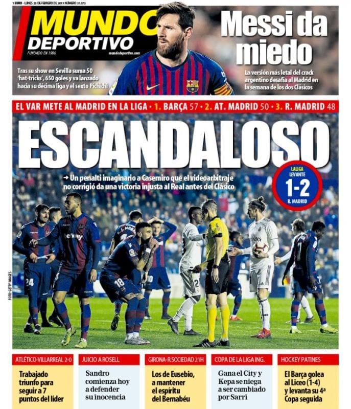 """Todos y cada uno de los periódicos cuyas portadas repasamos cada día  coinciden en calificar de """"inexistente"""" el penalti señalado sobre Casemiro  ... fcc99d74abe"""