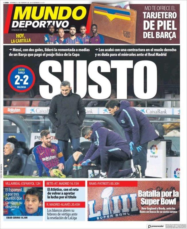 Mundo Deportivo Portada Susto 03.02.19