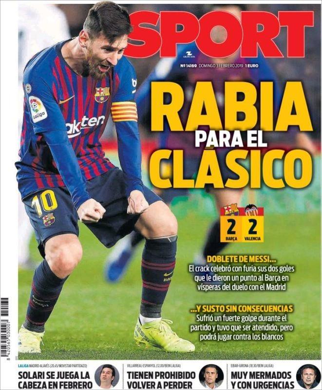 Sport Portada Rabia 03.02.19