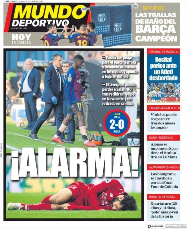 Mundo Deportivo Portada Alarma 05.05.19