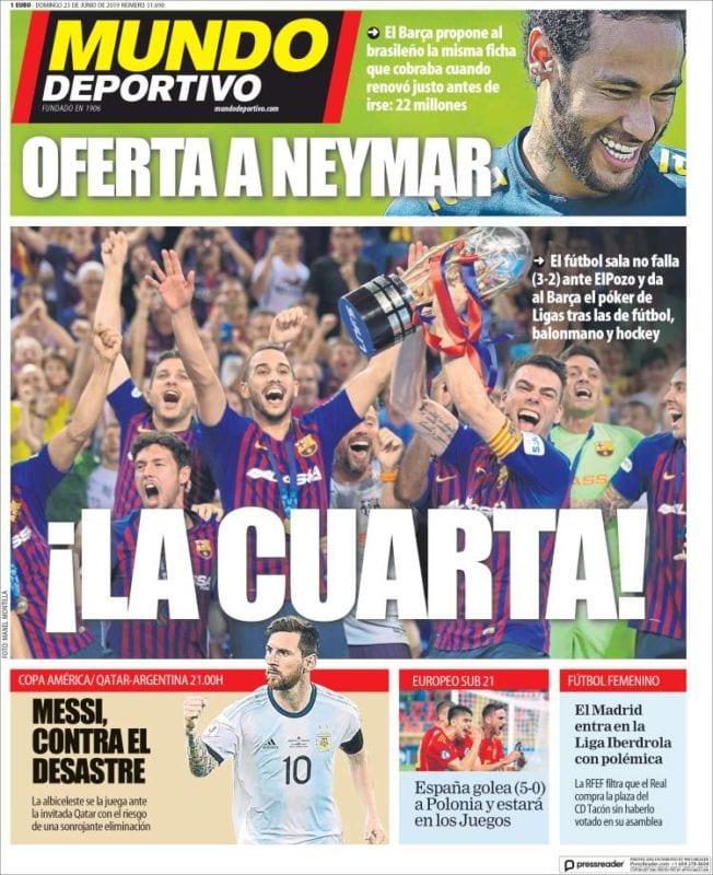 Mundo Deportivo Portada La Cuarta 23.06.19