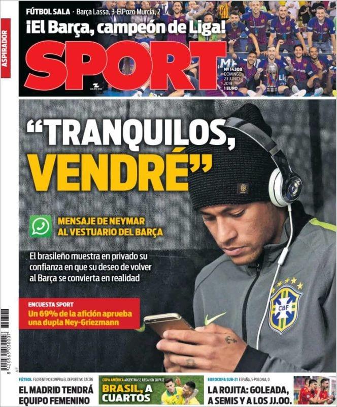 Sport Portada Neymar 23.06.19