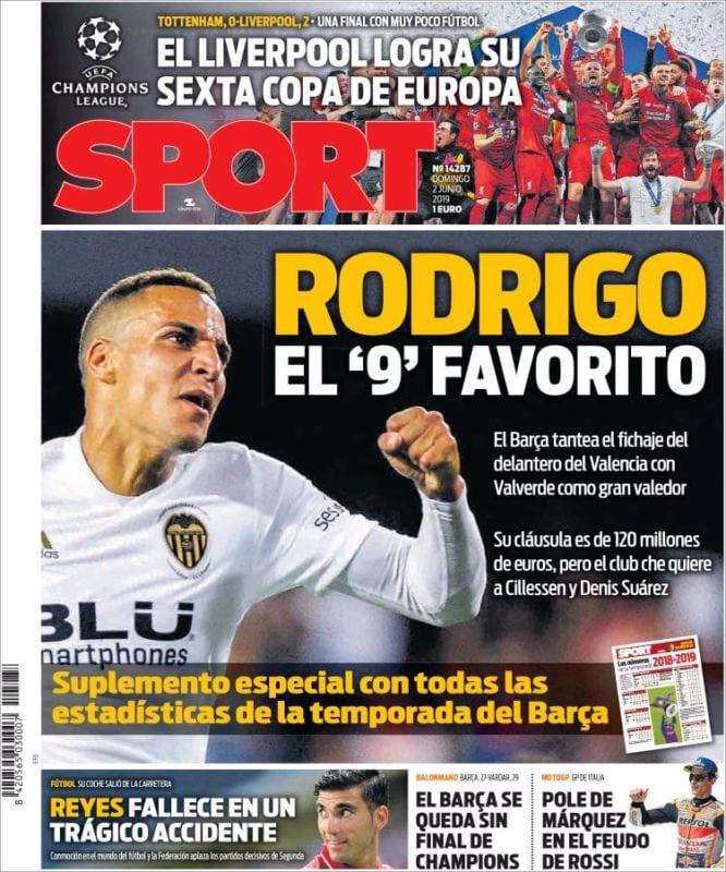 Sport Portada Rodrigo 02.06.19