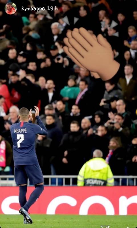 Story de Instagram de Mbappé agradeciendo al público del Bernabéu