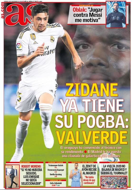 Portadas AS Fede Valverde y Paul Pogba