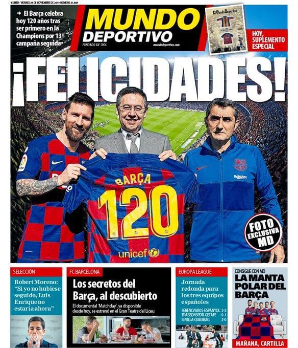 Portada MundoDeportivo El Barça cumple 120 años de historia