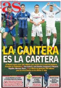 Portada de AS que destaca el rendimiento económico del Real Madrid por las ventas de sus canteranos.