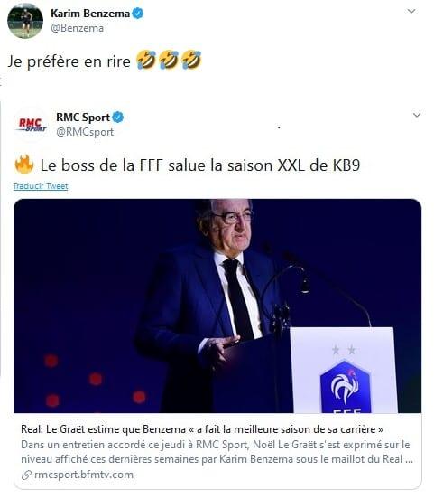 El tuit de Benzema por las declaraciones de Noël Le Graët