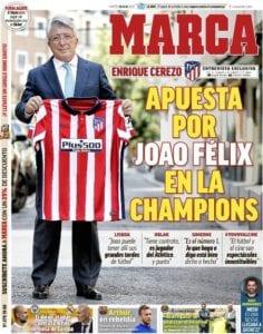 Portada de MARCA sobre la entrevista a Enrique Cerezo y sus declaraciones de Joao Félix