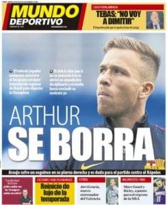Portada de MundoDeportivo sobre las declaraciones de Arthur