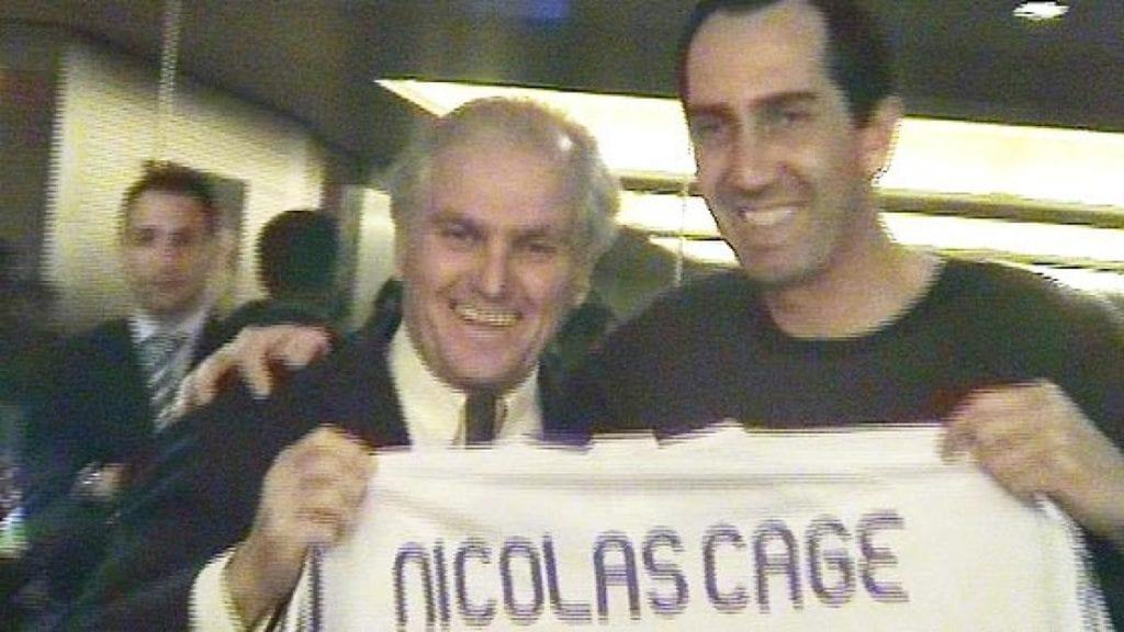 Ramón Calderón y Nicolas Cage en el Santiago Bernabéu