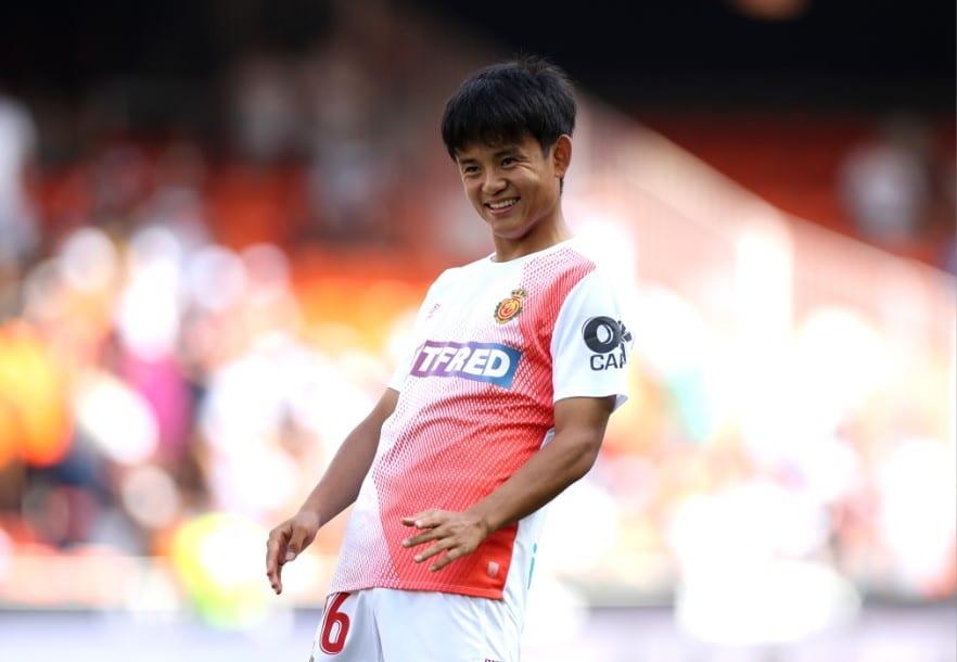Takefusa Kubo en partido de Liga con el Mallorca